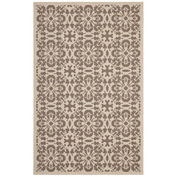 Ariana Vintage Floral Trellis 8x10 Indoor and Outdoor Area Rug (Light and Dark Beige)