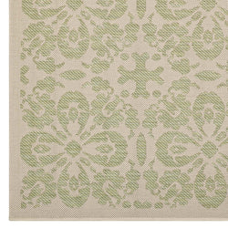 Ariana Vintage Floral Trellis 5x8 Indoor and Outdoor Area Rug (Light Green and Beige)