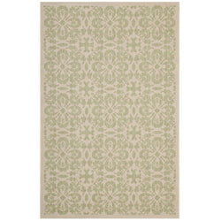 Ariana Vintage Floral Trellis 8x10 Indoor and Outdoor Area Rug (Light Green and Beige)