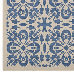 Ariana Vintage Floral Trellis 8x10 Indoor and Outdoor Area Rug (Blue and Beige)