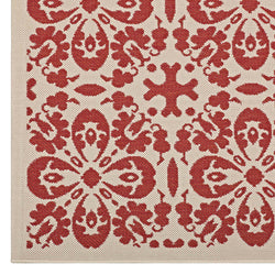 Ariana Vintage Floral Trellis 5x8 Indoor and Outdoor Area Rug (Red and Beige)