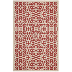 Ariana Vintage Floral Trellis 8x10 Indoor and Outdoor Area Rug (Red and Beige)