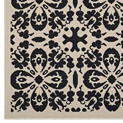 Ariana Vintage Floral Trellis 5x8 Indoor and Outdoor Area Rug (Black and Beige)