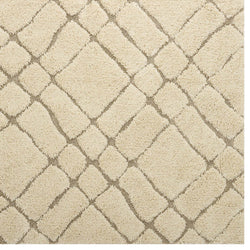 Jubilant Abstract Geometric 5x8 Shag Area Rug (Creame and Beige)