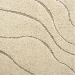 Jubilant Abstract Swirl 5x8 Shag Area Rug (Creame and Beige)