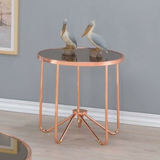 Alivia - End Table (Rose Gold & Smoky Glass)