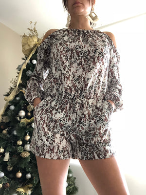 Sneak Print Cold Shoulder Romper