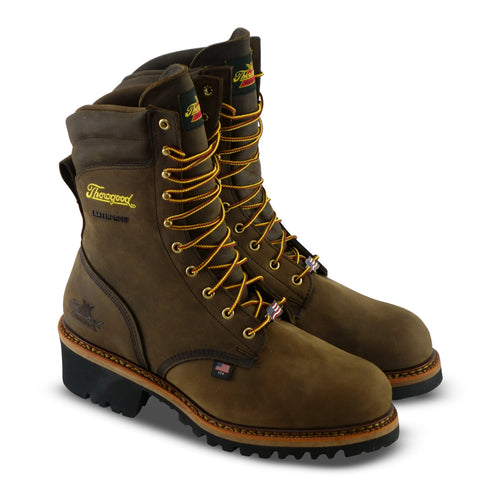 "Thorogood Boots 804-3555 9"" Logger Made in USA Steel Toe Waterproof Crazyhorse"