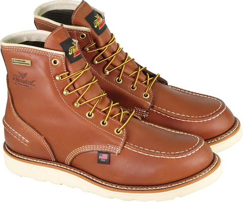 "Thorogood Boots 814-4600 Waterproof 6"" Moc Toe American Heritage 1957 Series Tobacco - Made In USA"