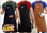 Round House Shop Apron 12 oz Denim or Duck Black Brown Blue BBQ Work - Made In USA