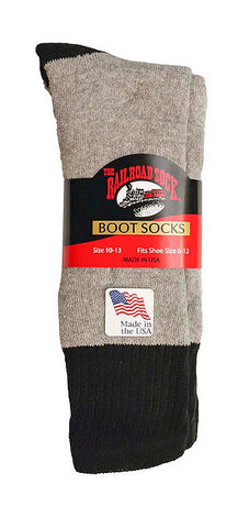 The Railroad Sock Outdoor Midweight Boot Socks 2 Pack Men's Black 6-12
