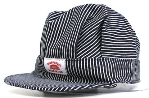 Round House Cap Adult Engineer Railroad Hat Striped Train Conductor - Made  In USA 8cd5680d5f25