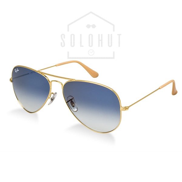 Aviator Gradient RB3025-001/3F Gold Frames with Blue Lenses Sunglasses Ray-Ban Xvsh4e
