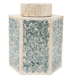 DAOUDI CAPIZ JAR- BLUE & CREAM