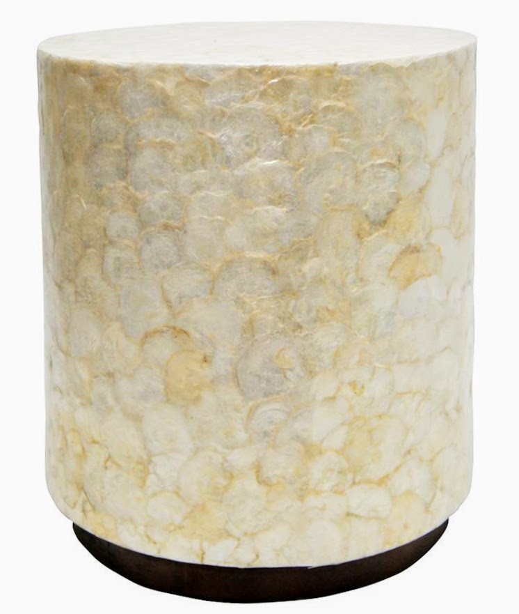 HAMPTON CAPIZ SHELL SIDETABLE - WHITE 49X60CMH