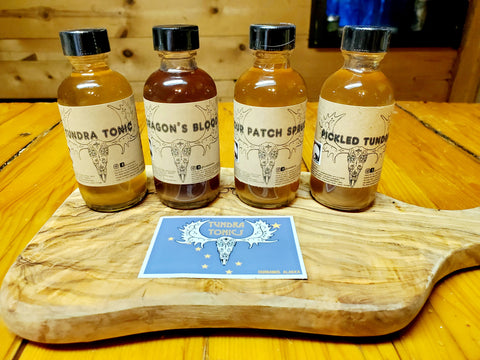 "Vinegar ""Fire Cider"" Flight, aka Four Thieves Vinegar, Organic Raw Apple Cider Vinegar Tonic Sampler, four 2oz bottles"