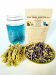 Blue Greek Mountain Tea, Blue Butterfly Tea w/ Dried Ironwort, aka Shepards Tea, Organic Herbal Blend
