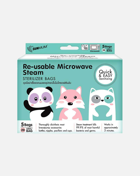 Sunmum Reusable Microwave Steam Sterilizer Bag 5s