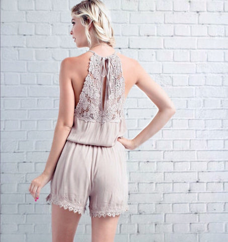 Fly High Cut-out Crochet Trimmed Romper - Alice and Ivy