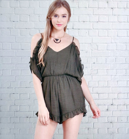 Cold Shoulder Ruffle Romper - Alice and Ivy