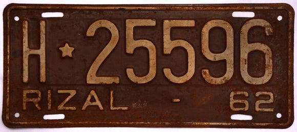 Rizal Car Plate 1962, Philippines