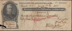 1905 Treasurer of the Philippine Archipelago check, bearing the bust of Gen. H.W Lawton