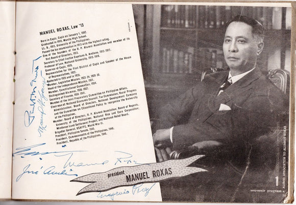 President Manuel Roxas and Vice President Quirino Signatures on UPAA Program 1946