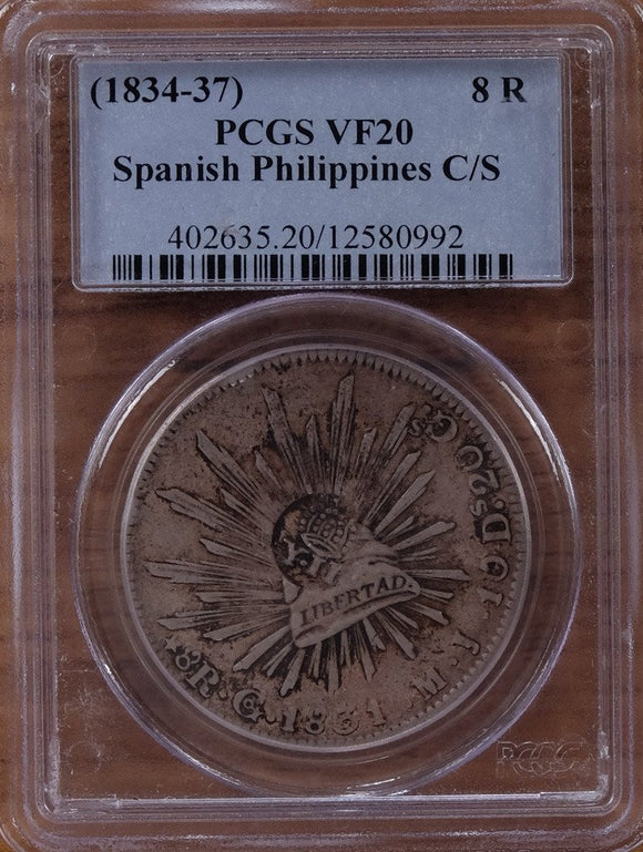 Spanish Philippines Y-II Counterstamp on Mexico 8 Reales 1831 Go