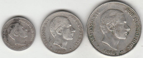 Spain Philippines King Alfonso XII Type Set (50c, 20c, 10c 1885)