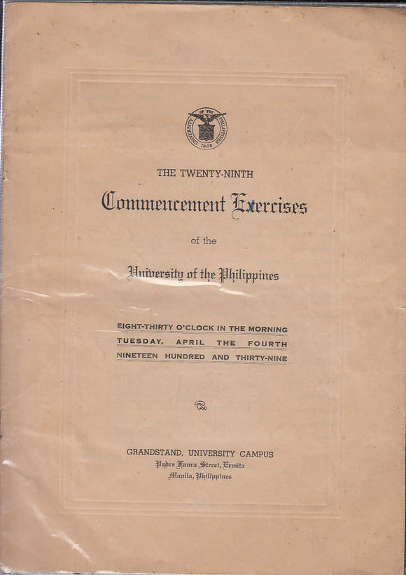 1939 University of the Philippines Commencement Invitation