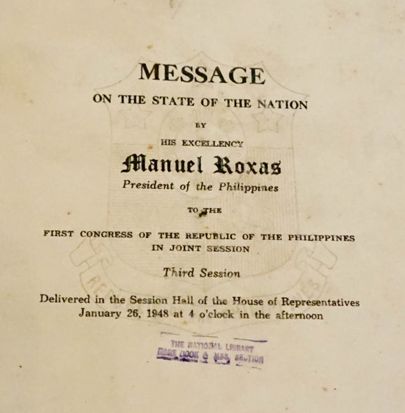Manuel Roxas: Message of the State of the Nation