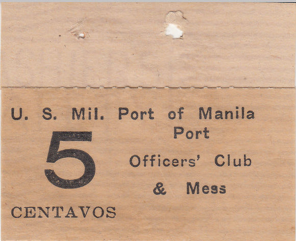 Five Centavos US Military Port of Manila Chit