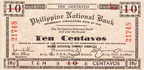 Negros Occidental 10 centavos 1943 Guerrilla Note