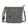 Dark gray medium sized women's cross body purse, meant for ccw concealed carry, plus enough room for all of your daily essentials.
