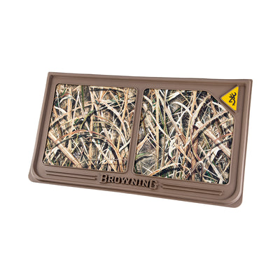 Sturdy rubber mat finished in brown and Mossy Oak Shadow Grass Blades camo. This mat is meant to contain food and water while your dog feeds.