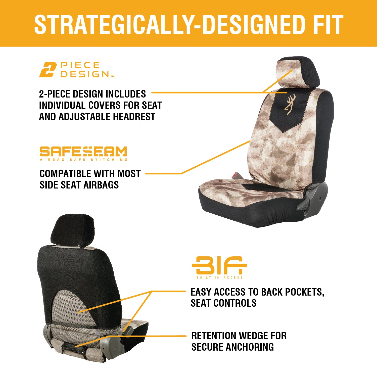 A-TACS AU Low Back Seat Cover | 2-Pack - Browning Lifestyle