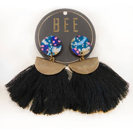 EARRINGS | BEE Emmy Drop Earrings - Blue Abstract
