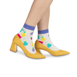 Adult Ankle Socks | Coloured Pineapples