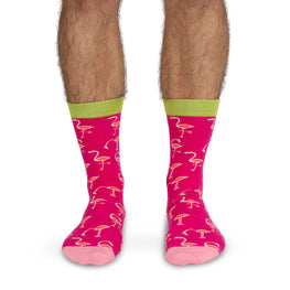 Adult Crew Socks | Flamingo - Bright Pink