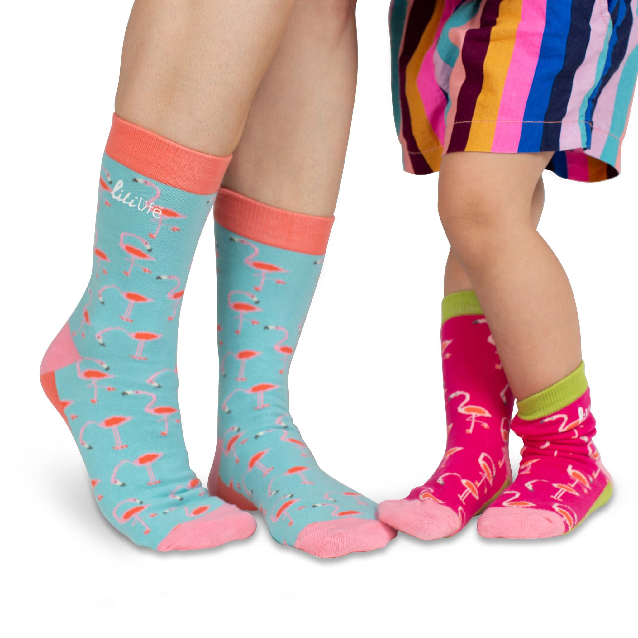 Mama & Me Socks | Retro Flamingos