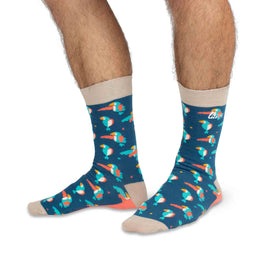 Adult Crew Socks | Parrots - Dark Blue