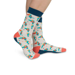 Adults Crew Socks | Parrots - Light