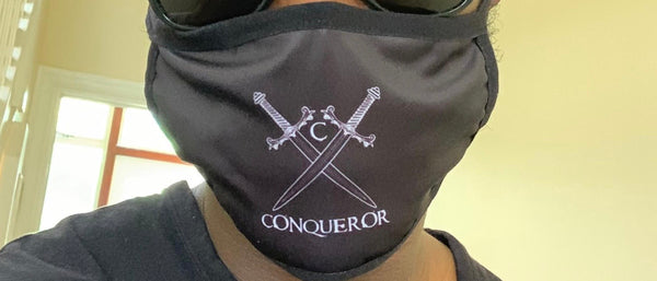 Conqueror logo washable Face Mask
