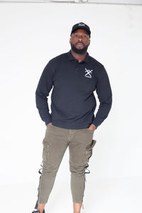 Long sleeve polo shirt with embroidered conqueror Logo