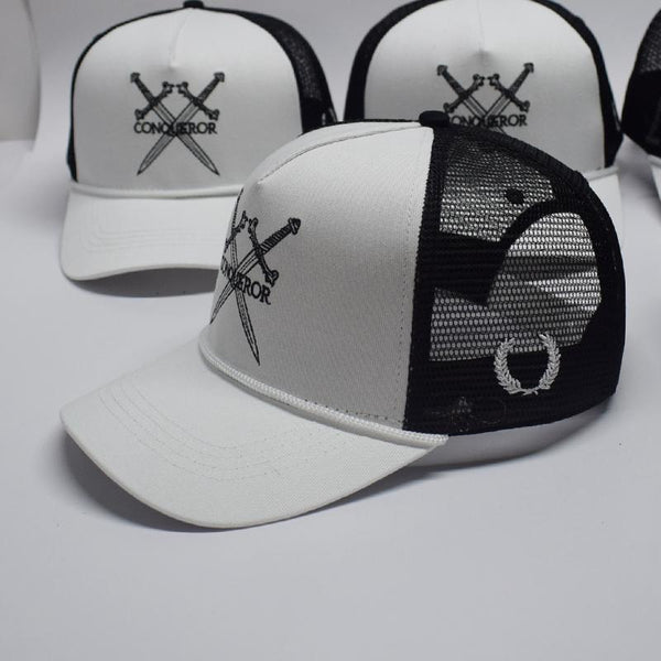 White panel Trucker snapback hat