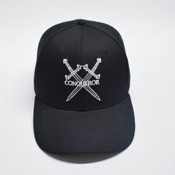 All Black embroidered logo Strapback Hat