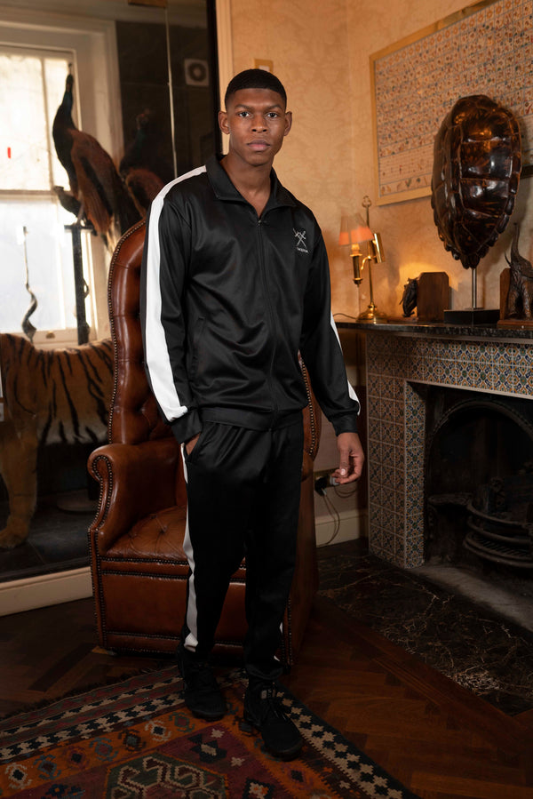Full Unisex Black Tracksuit with white side panel