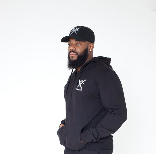 Conqueror plain black Zip Hoody