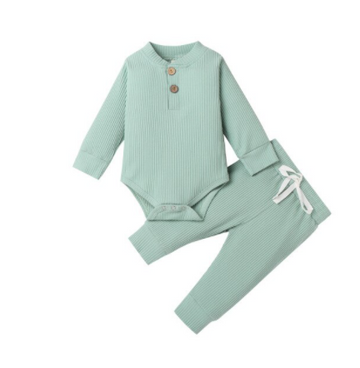 Kai | Ribbed Bodysuit and Pants Set - Mint