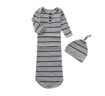 Striped Baby Sleeper, Nightgown with Beanie | One Size
